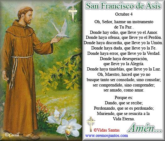 Resultado de imagen para ORACION DE SAN FRANCISCO DE ASIS